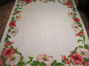 Vintage-Tablecloth-Tagged-VERA-with-Ladybug-Watercolor-Hibiscus-PINK-Red-Green