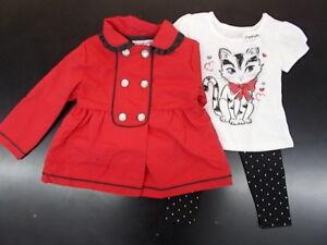 Enfant & Filles Flapdoodles $55 3pc Veste Rouge, Chemise, & Legging Set Sz 2/2t-6x-afficher Le Titre D'origine