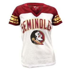 buy online 0d43c bf9b2 Details about Florida State Seminoles Women's T-Shirt FSU Mesh Jersey NCAA  All American V-Neck
