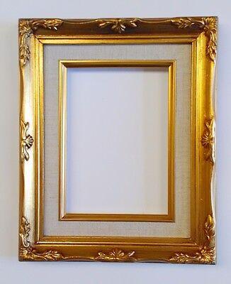 "Picture Frame Wood//Gesso #637G White Linen Liner 8x10/"" Ornate Gold Color"