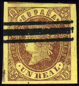 ESPANA-61a-BARRADO-ISABEL-II-CASTANO-SOBRE-AMARILLO-ORO