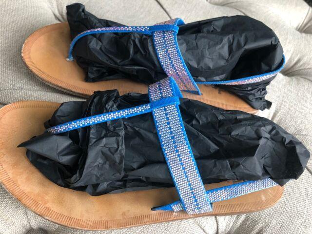 PEDRO GARCIA BLUE THONG SWAROVSKI CRYSTALS SHOE FLAT ELASTIC STRAP SZ 38.5 39