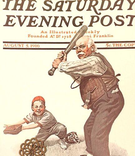 VTG Norman Rockwell Art Print Saturday Evening Post BASEBALL *** SEE VARIETY
