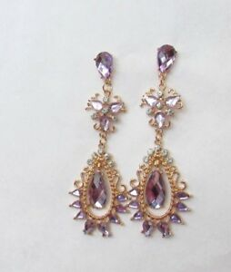 Gold Lilac Light Purple Diamante Earrings Drop Chandelier Studs 1920s 6530