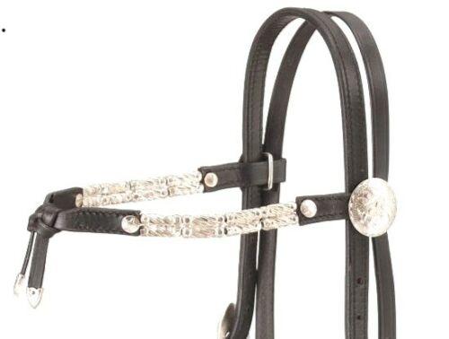 Bridle Black Leather Silver Ferrule Western Futurity Brow Show Headstall