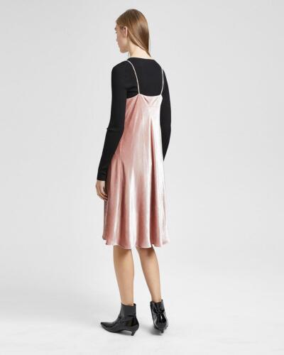 Theory Drape Crinkled Velvet Spaghetti Strap Dress Sz 0 NWT 345 Rose IRRG