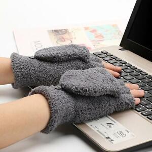 Gants-d-039-hiver-sans-doigts-tricotes-mode-unisexe-femmes-hommes-mou-mitaines-cha