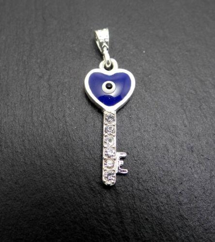 Blaues Auge Nazar Boncuk Talisman Anhänger Der schlüssel zum Herzen silber 925