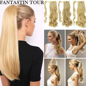 100-Real-Hot-as-Human-Hair-Wrap-On-Ponytail-Pony-Tail-Clip-On-Hair-Extensions-J