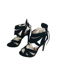 Truffle-Collection-Suede-Black-Womens-Ladies-Black-Faux-Suede-High-Heel-Party