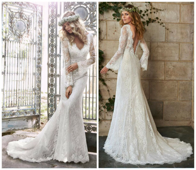 0fe154f3716 Frequently bought together. Country Boho Lace Mermaid Wedding Dress Long  Sleeves Flowers Sequin Bridal Gown