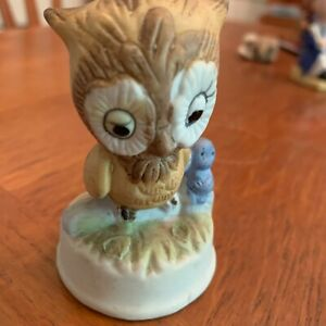 Ceramic-Owl-Figure-Statue-With-Blue-Baby