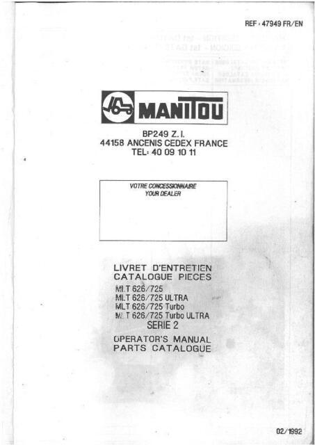 manitou maniscopic telehandler mlt 626 725 turbo ultra operators rh ebay co uk KD Manitou Parts merlo telehandler parts manual