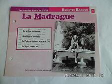 CARTE FICHE PLAISIR DE CHANTER BRIGITTE BARDOT LA MADRAGUE
