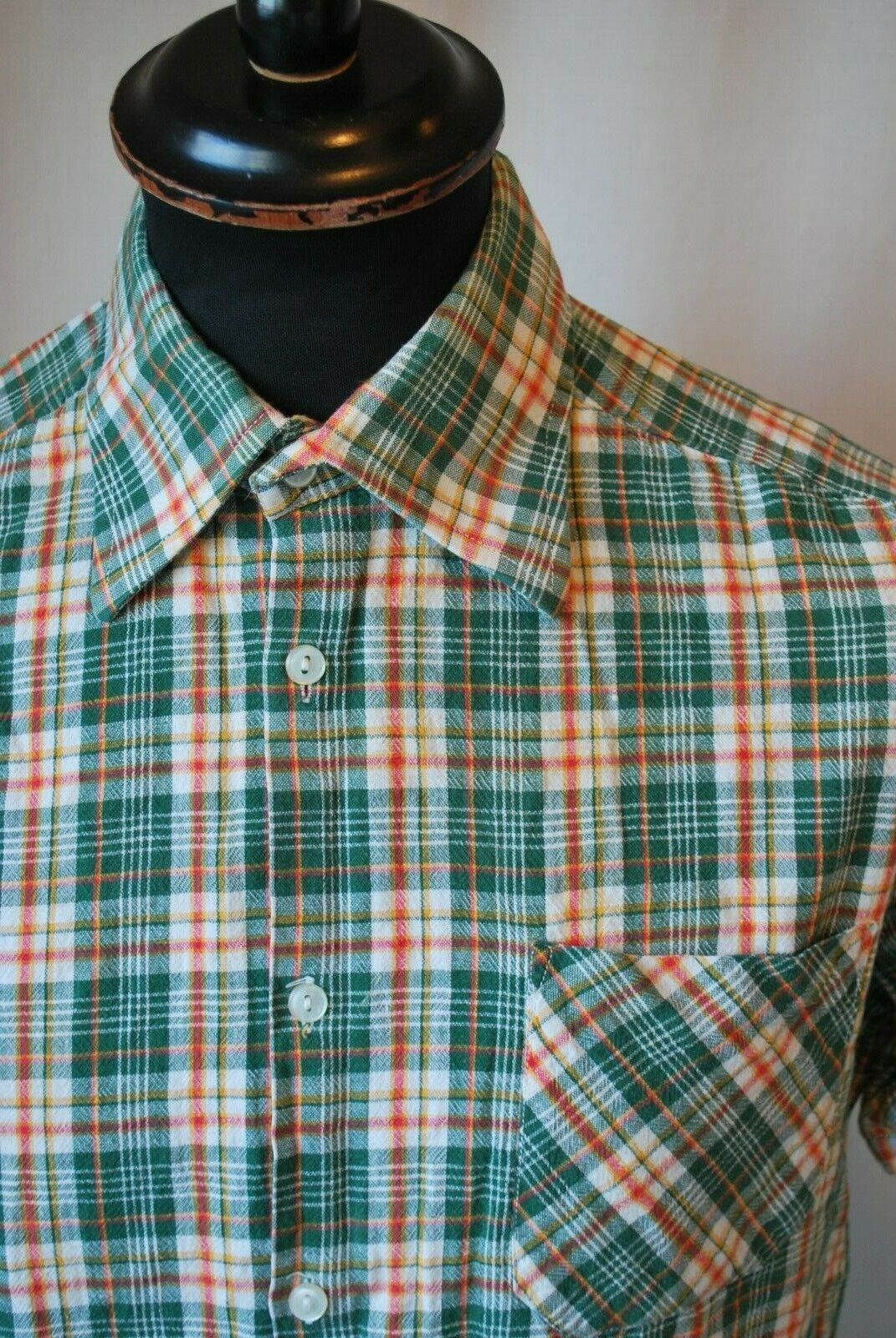 Vintage Marco Polo green check western short sleeve shirt size small casual mod