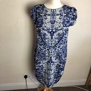 Darling Blue Cream Dress Patterned Dress New Tags Back Zip Size 16 Wedding Uk Ebay