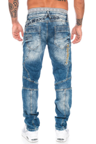Cipo /& Baxx Cuciture Uomo Pantaloni Jeans 293 BLU NUOVO w28 29 30 31 32 33 34 36 38 40