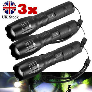 Police 90000LM T6 LED Super Bright Zoom Flashlight Powerful Camping Lamp Torch