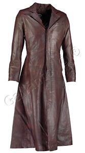 in pelle Neo uomo trench scuro stile in in Cappotto marrone lungo da da Matrix uomo 5xpwYZBZRq
