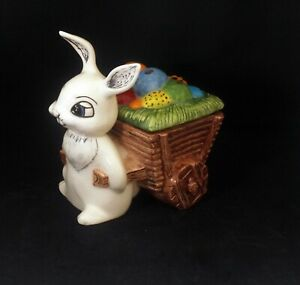 Easter Bunny With Wagon Full Of Painted Easter Eggs Vintage Ceramic
