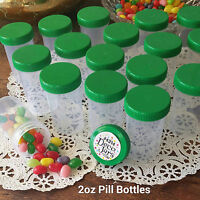20 Pill Bottle Jars Green Cap Lid Party Favor 2 Oz Container 4314 Decojars Usa