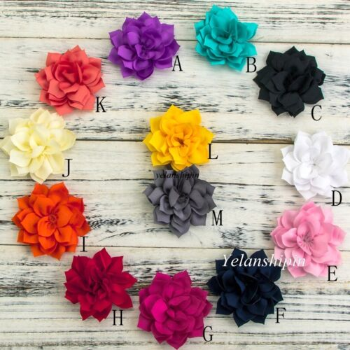 Double-Layer Lotus Fabric Flowers For Baby Headbands Hair Accessories 30pcs