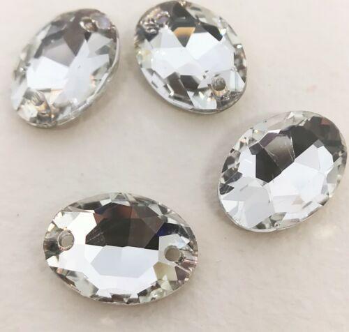 Oval Sew sur verre clair cristaux strass 2 trous de pierres perles 13x18mm 4 pcs