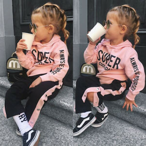 81ca333cd UK Toddler Kid Baby Girls Hooded Tops Long Pants Tracksuit Outfit ...