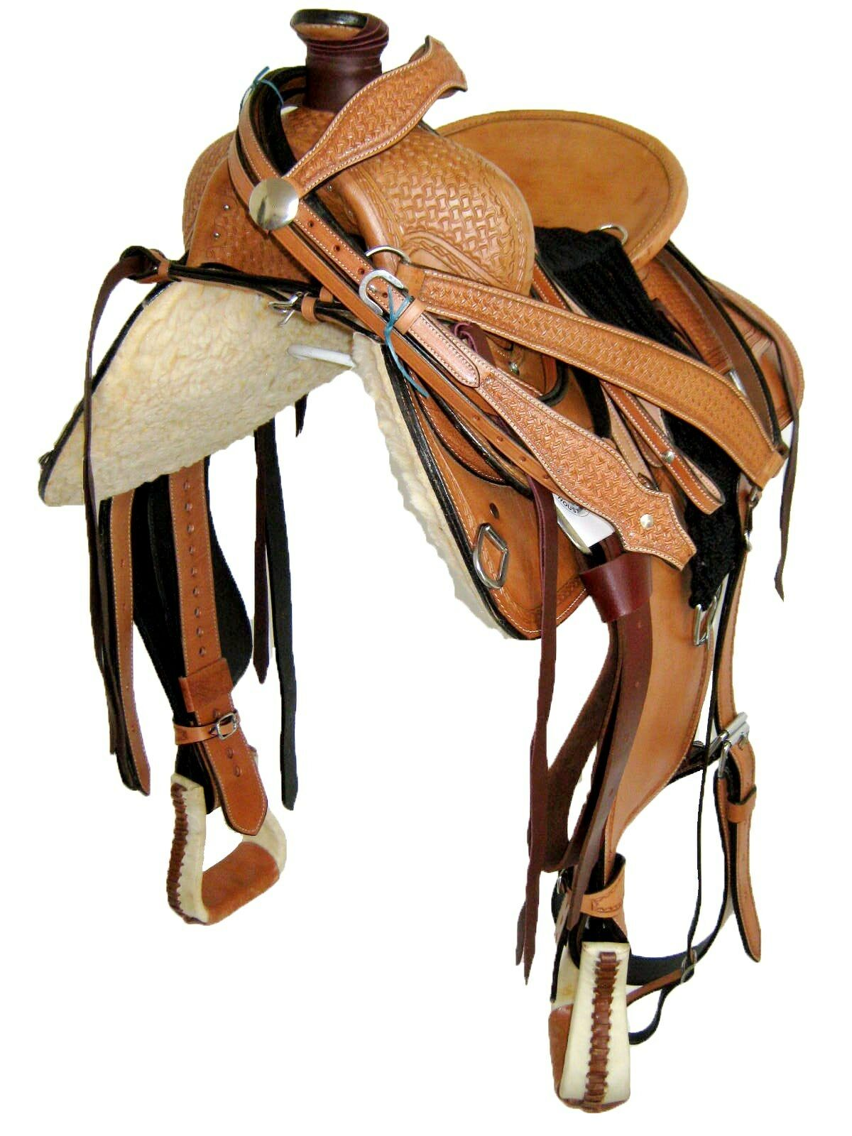 WESTERN ROPER RANCH SADDLE SET - LT OIL BROWN, HARD SEAT, 15  (1058)