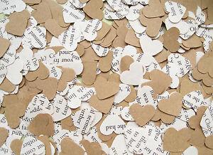 Jane-Austen-Heart-Book-Kraft-Confetti-Mix-Wedding-Decor-Rustic-Hearts