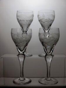 VINTAGE-ETCHED-CRYSTAL-SHERRY-OR-PORT-GLASSES-SET-OF-4