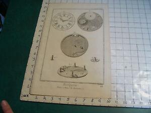 "Original engraving 1760's 10 1/2 x 16"" montre a roue de rencontre HORLOGERIE"