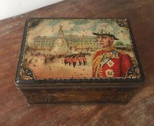 Vintage-King-Edward-VIII-Eighth-8th-Toffee-Tin-16-5-x-11-5-x-9cm-Hinged-Lid-Rare