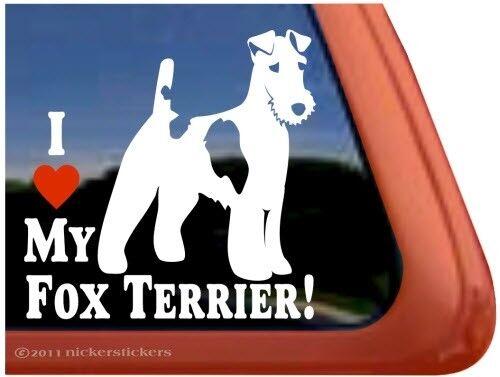 I Love My Fox TerrierWire Fox Terrier Dog Window Decal Sticker