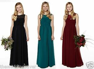 BNWT-BHS-Teen-Chiffon-Long-Bridesmaid-Dress-Ocean-Navy-Blue-Merlot