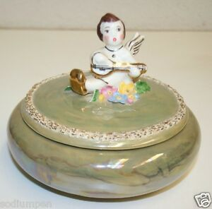 Ceramic Powder Box Beautiful Ornate Hand Made Signed B.N. Musical Angel Bowl