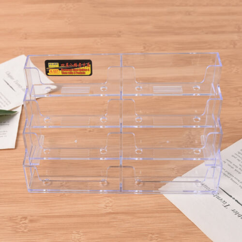 8 Pocket Desktop Business Card Holder Clear Acrylic Countertop Stand Display WD
