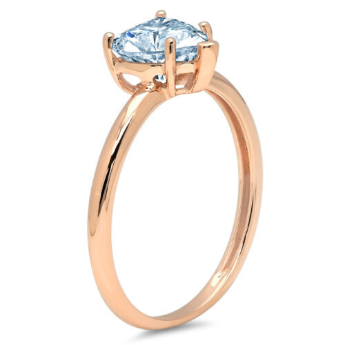Details about  /2 Heart Cut Natural Aquamarine Wedding Bridal Promise Classic Ring 14k Rose Gold