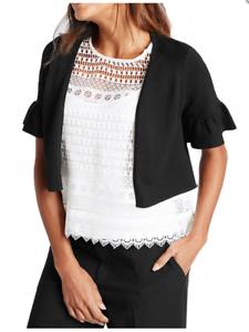 Nouveau femme m/&s Noir Bell Poignet cropped bolero veste en Tailles UK 6-20