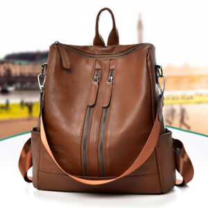 2510df5efdbff Image is loading Women-Ladies-Leather-Backpack-Travel-Handbag-School- Shoulder-