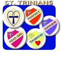 LARGE ST TRINIANS BADGES/HEAD GIRL/PREFECT/SINNER/FAB FANCY DRESS