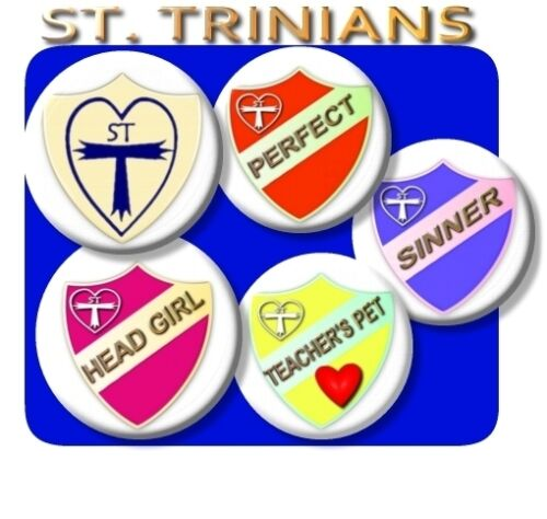 LARGE ST TRINIANS BADGES//HEAD GIRL//PREFECT//SINNER//FAB FANCY DRESS