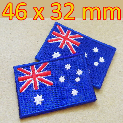 2 Patches x Australia Australian Flag Embroidered Iron On Patch Sydney Melbourne