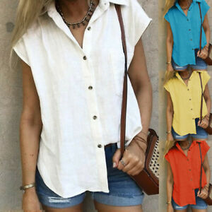 Women-039-s-Girl-Summer-Casual-Tops-Clothes-Solid-Short-Sleeve-Botton-Cotton-Blouses