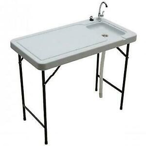 Camp Sink With Faucet.Multi Purpose Folding Table Work Station Sink Faucet Camp Meat Fish Cleaning