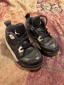 acdb57b290c5b0 Nike Air Jordan 4 IV Retro 10C LS TD Toddler Black Grey Cement ...