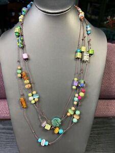 Vintage-Boheniman-Multi-Color-Glass-Extra-Long-100-Single-Strand-Necklace-Boho
