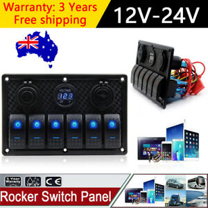 AU-6-Gang-Blue-LED-Light-Rocker-Switch-Panel-Circuit-Breaker-For-Car-Boat-Marine