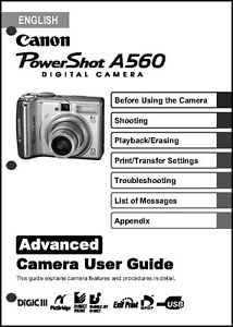 canon powershot a560 digital camera user guide instruction manual ebay rh m ebay ie Canon PowerShot A590 Review canon powershot a560 advanced user guide