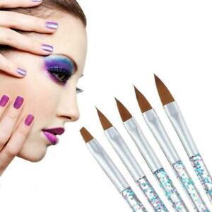 5X Sable Kolinsky Acrylic Nail Art UV Gel Carving Brush Set Tools Glitter Z7V4